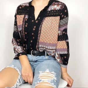 LUCKY BRAND | Mixed Print Floral Lace Boho Blouse